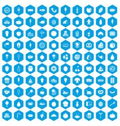 100 tasty food icons set blue vector