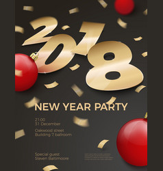 3d realistic new year party invitation vector image