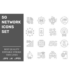 5g network icons set 5g technology editable vector image
