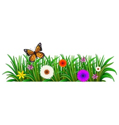 A garden with blooming flowers and a butterfly vector image