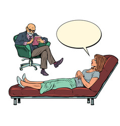 A male psychotherapist at psychotherapy session vector
