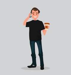 a man holding coffee and talking on the phone vector image