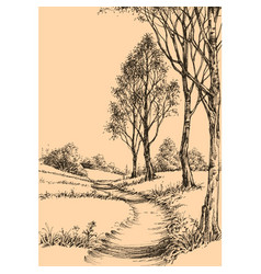 A path in park sketch wallpaper vector