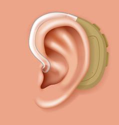 aerophone behind ear organ hearing aid human vector image