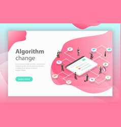 algorithm change isometric flat conceptual vector image