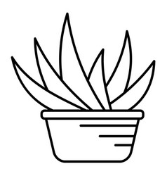 Aloe vera pot icon outline style vector