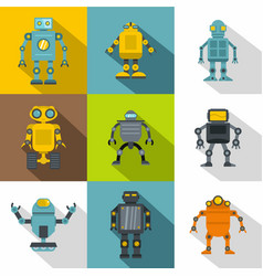 android icon set flat style vector image