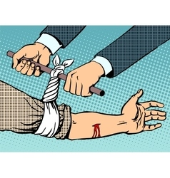 Bandage to stop bleeding after being wounded vector