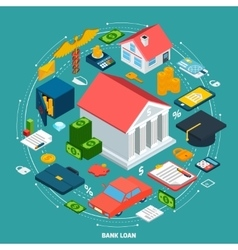 Bank Loan Isometric Concept vector image