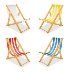 Beach deck chair made of wood and fabric stock vector