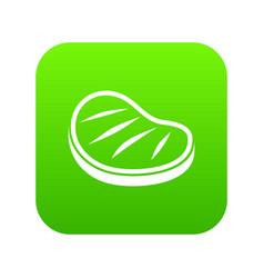 beef steak icon digital green vector image