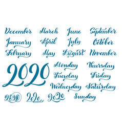 big handdrawn calligraphic monthly set vector image