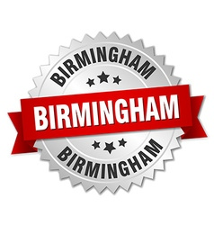 Birmingham round silver badge with red ribbon vector
