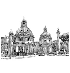 Black and white digital drawing rome italy vector