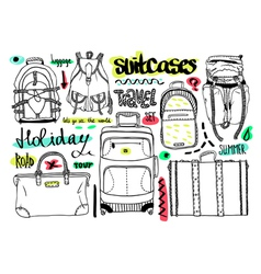 Black and white set with bags for travel text vector image