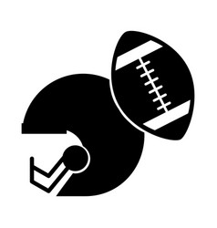 Black icon football helmet and ball vector