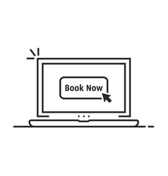 black linear laptop with book now vector image