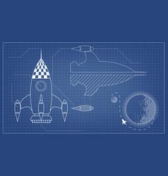 Blueprint spaceship vector