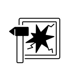 break glass in case emergency linear icon vector image