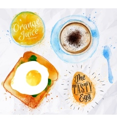 Breakfast toast egg juice vector