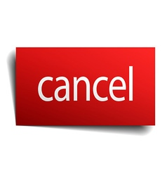 Cancel red paper sign isolated on white vector