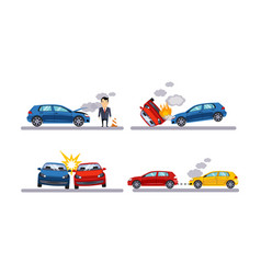 Car accidents set auto crash flat vector