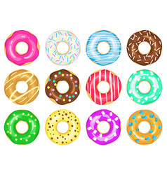 cartoon donuts sweet glaze and sprinkle donuts vector image