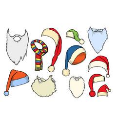 christmas hats bag socks vector image