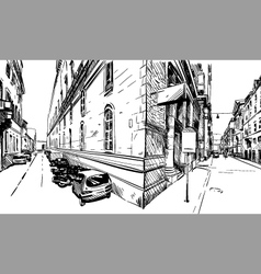 City hand drawn Street sketch vector image