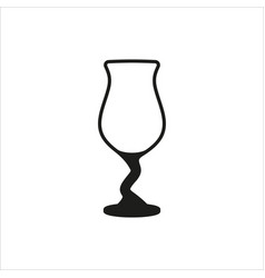Cocktail glass icon in simple monochrome style vector