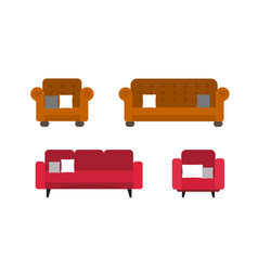 collection of comfortable sofa and chair models vector image