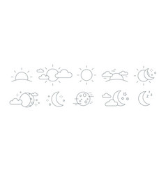collection rising or setting sun moon phases vector image