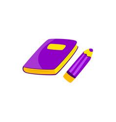 color pencil and book lilac cartoon vector image