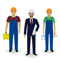 Construction people engineer in suit with vector