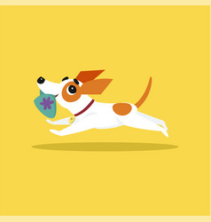 Cute jack russell terrier running with slipper in vector