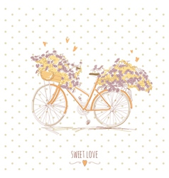 Cute vintage postcard with a bike and flowers vector