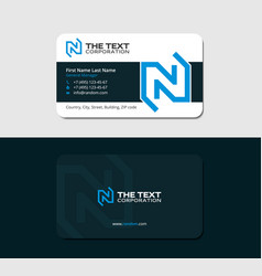 Dark business card with blue letter n vector