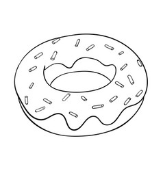 Donut black and white outline drawing vector