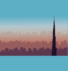 Dubai skyline with burj khalifa landscape vector