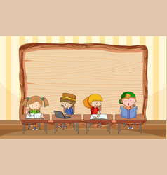empty wooden board with many kids doing their vector image