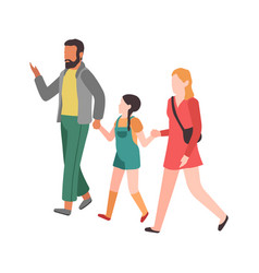 family walking mom dad and child hold vector image