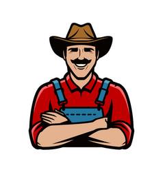farmer logo or symbol agriculture farm concept vector image