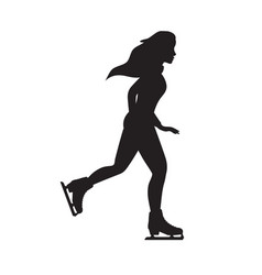 flat black young woman riding ice skates vector image