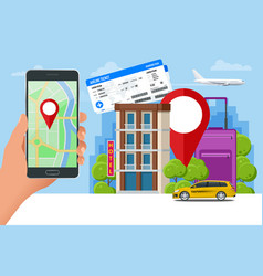 Flat concept of hotel search and booking online vector