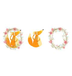 Fox and flowers cartoon vector