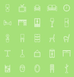 Furniture line icons on green background vector image