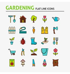 Garden Colorful Flat Line Icons Set vector