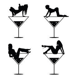 girl and martini black silhouette vector image