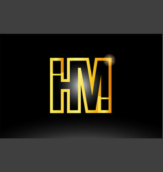 Gold black alphabet letter hm h m logo vector
