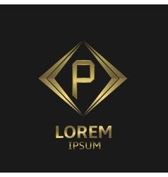 Golden P letter vector image